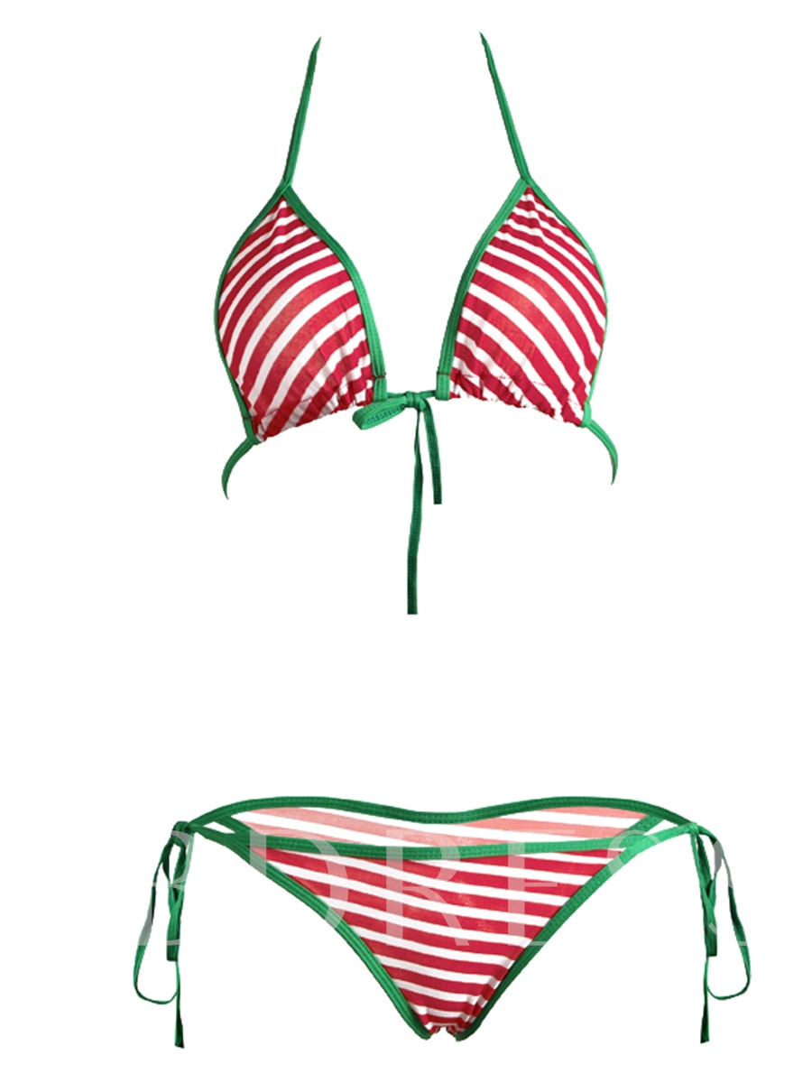Christmas Red Stripe Lace-Up Bikini Set
