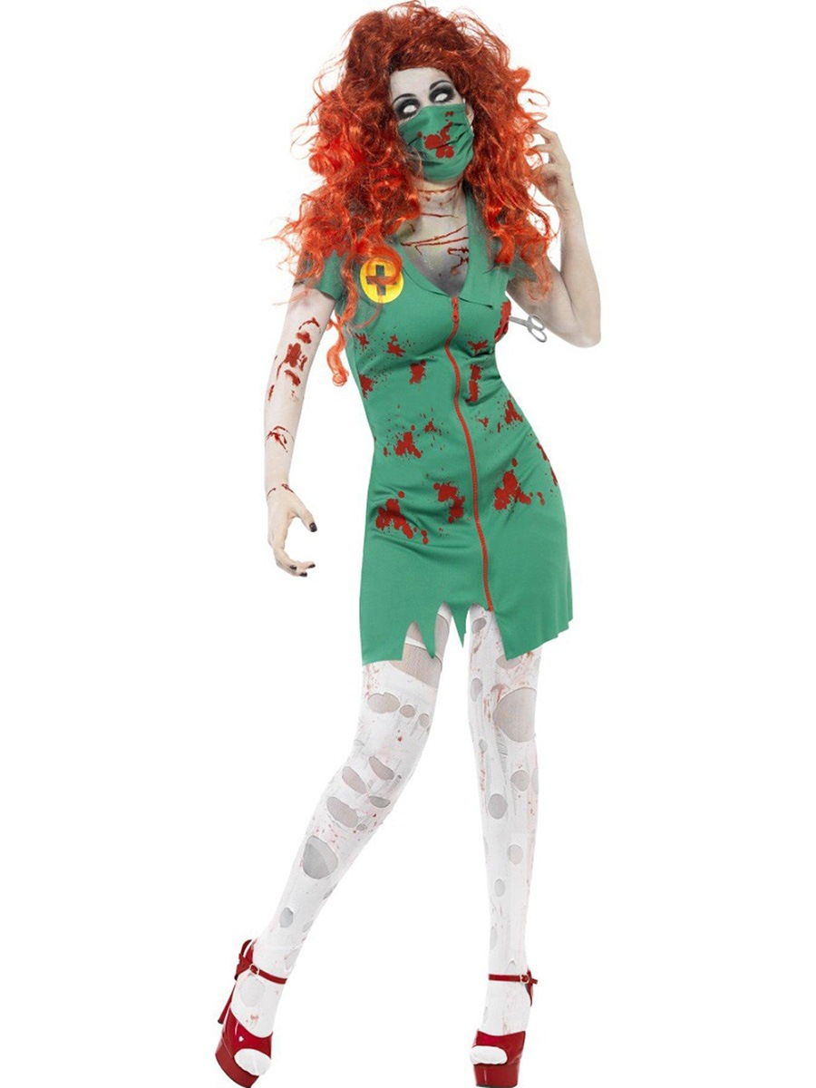 Short Sleeve Patchwork Terrorist Nurse Costume