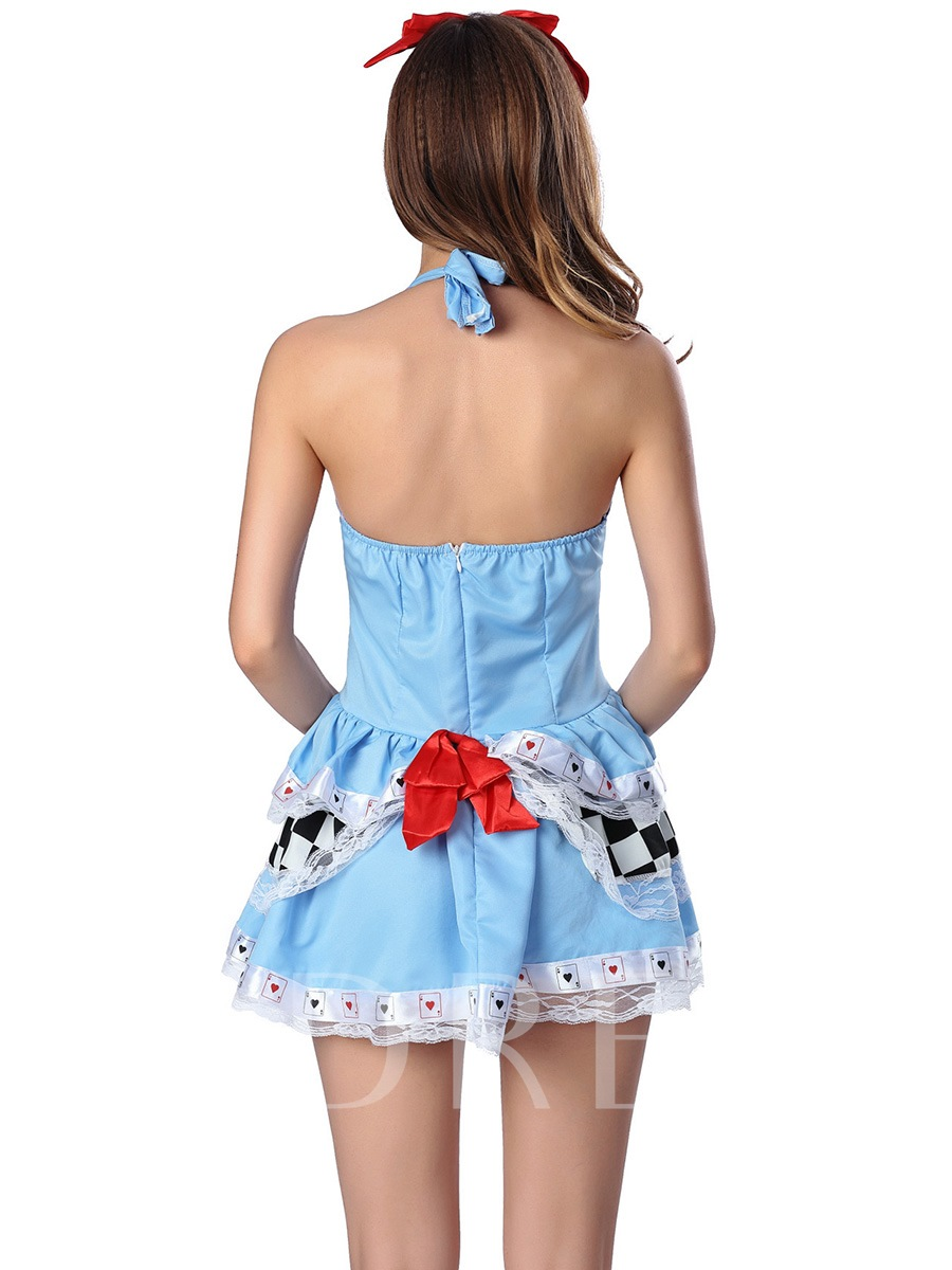 Charming Patchwork Lace-Up Bowknot Backless Costume