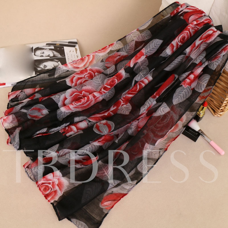 Voile Floral Leaf Print Thin Scarfs