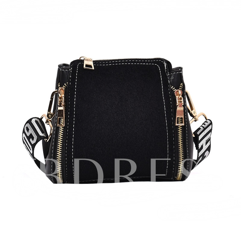 Casual Wide Shoulder Straps Double Zipper Cross Body