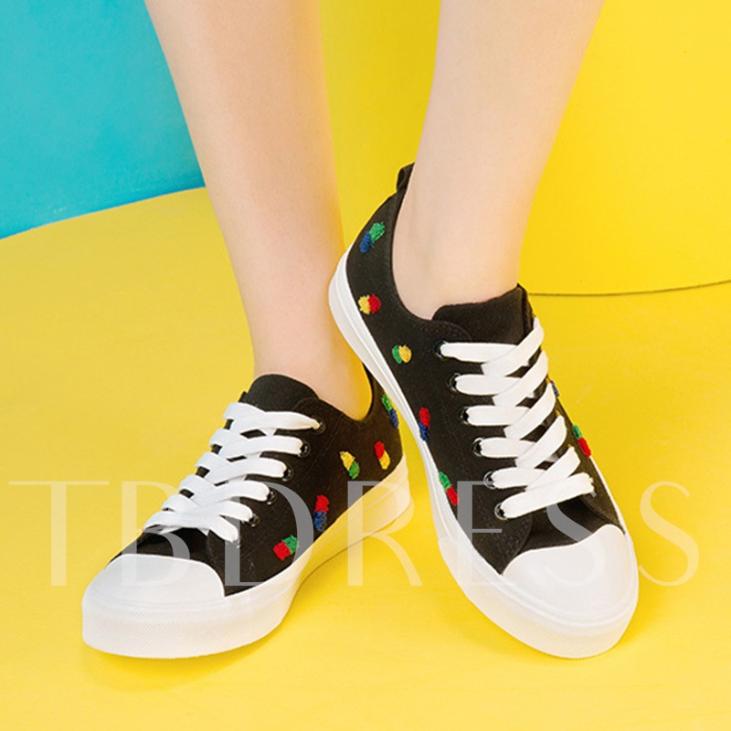 Flat With Color Block Lace Up Canvas Shoes for Women