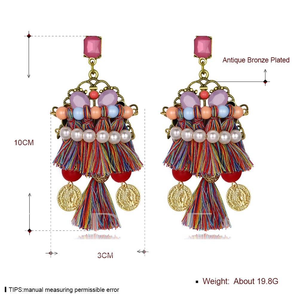 Alloy Colorful Hollow Out Tassel Earrings