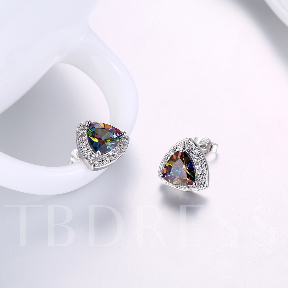 Triangle Diamante Colorful Zircon Earrings