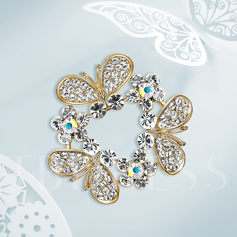 Alloy Diamante Imitation Zircon Women's Brooches
