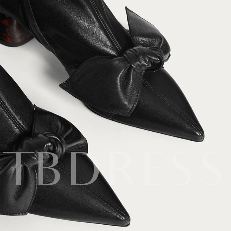 Black Boots Pointed Toe Bow Cowheel Outsole Women's Shoes