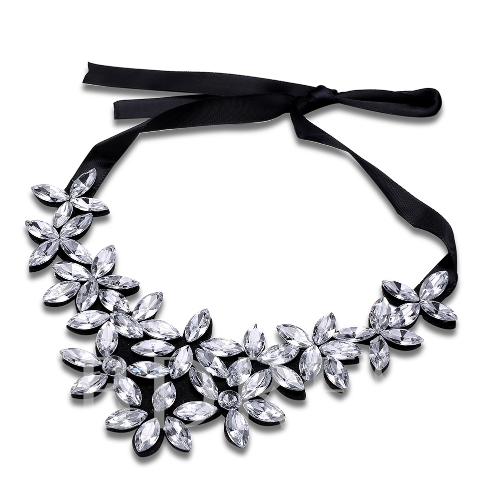 Imitation Zircon Velet Rope Rhinestone Hot Sale Necklace