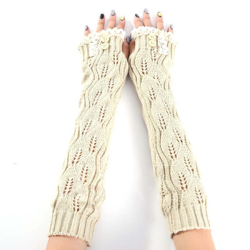 Lace Button Leaf Hollow Out Fingerless Gloves