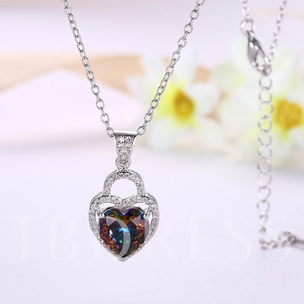 Diamante Zircon Inlaid Link Chain Heart Shaped Necklace
