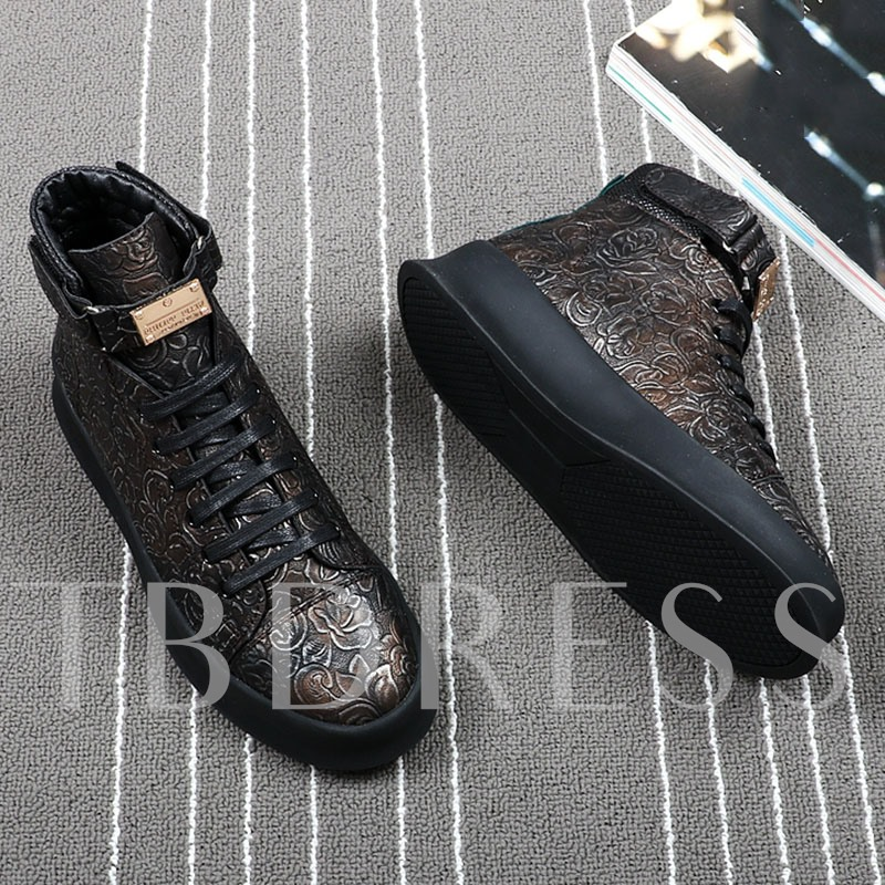 Embossed Leather Floral Lace Up Dress Shoes for Men