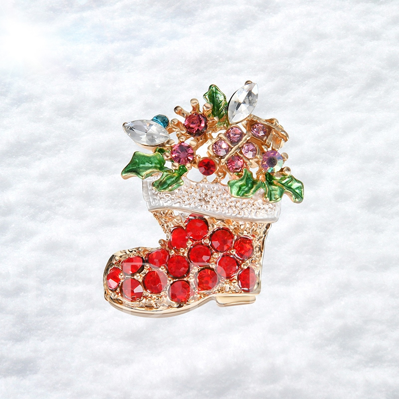 Artificial Crystal Boots Alloy Christmas Women's Brooches