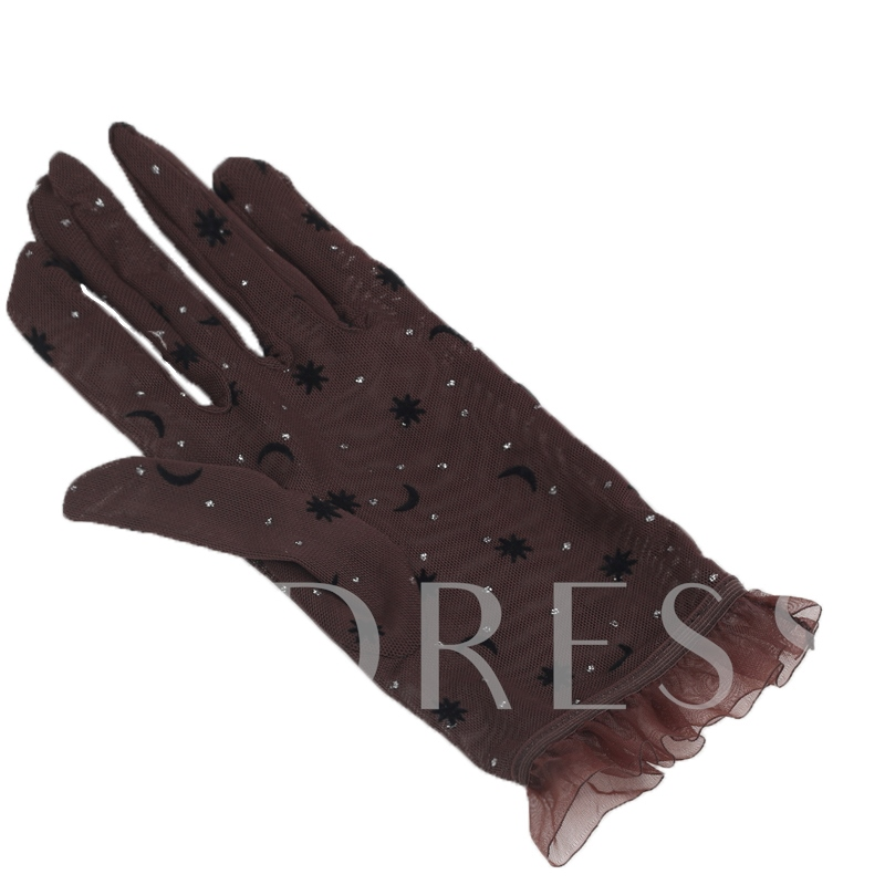 Thin Wave Point Sunscreen Lace Gloves