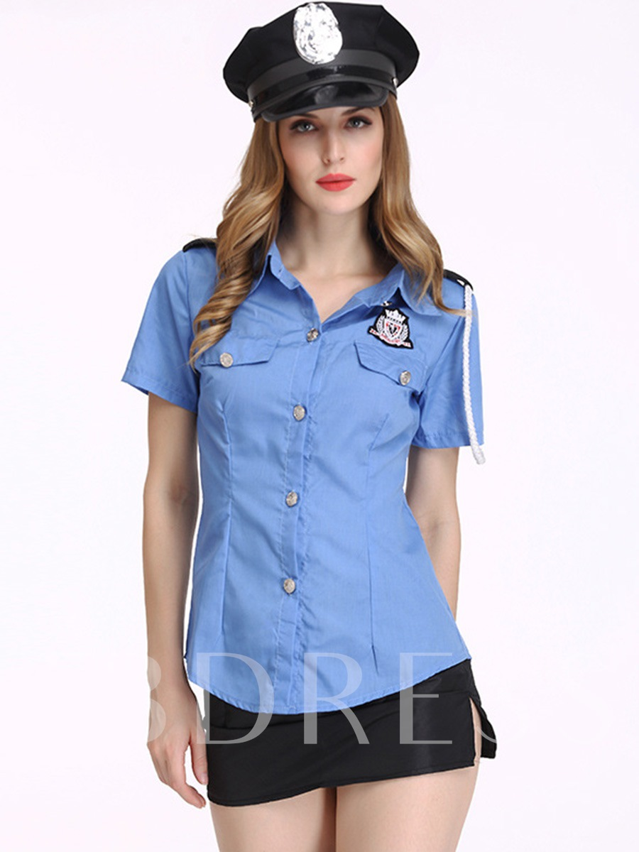 Patchwork Print Short Sleeve Sexy Cop Suits