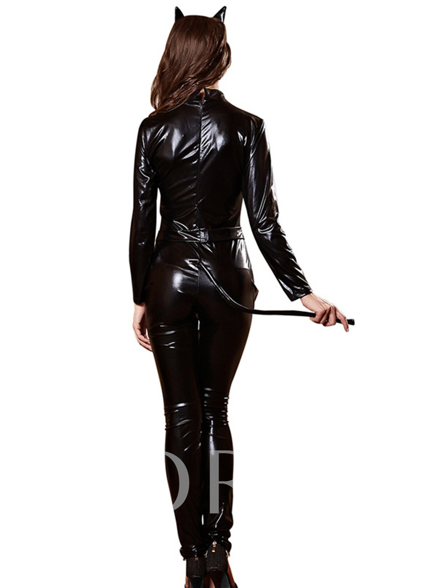Black Leather Long Sleeve Cat Woman Costume