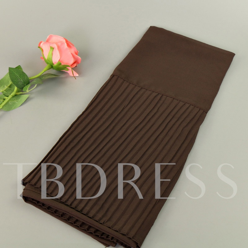 Patchwork Pleated Solid Color Muslim Scarfs