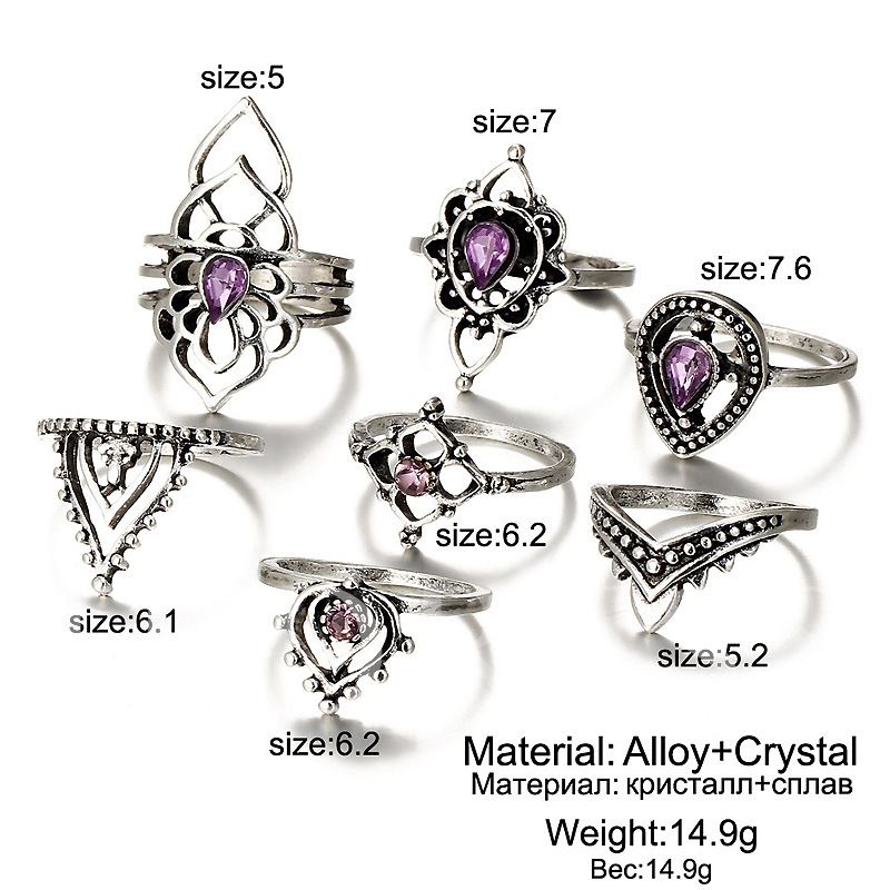 Retro Hollow Out Joint Knuckle Ultra Violet Ring