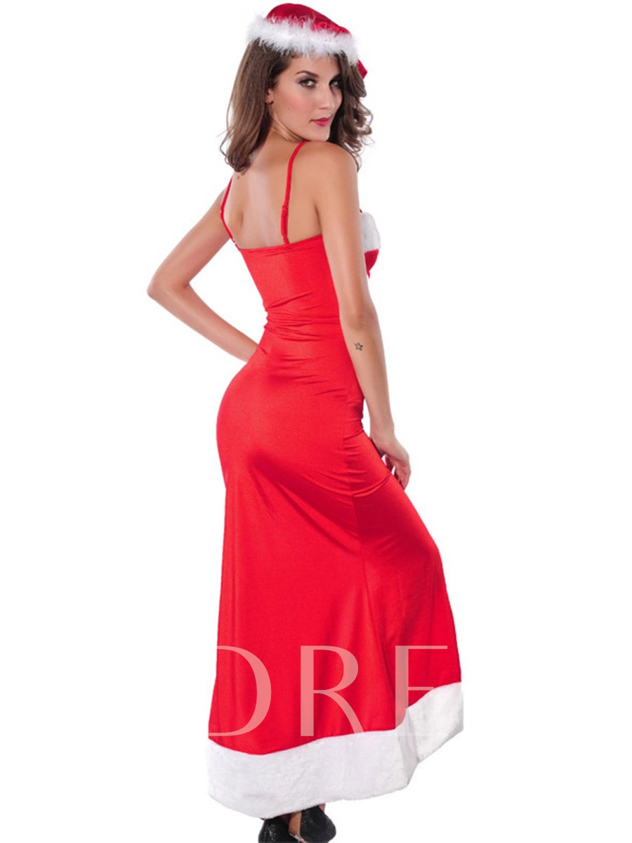 Christmas Red Lace-Up Patchwork Velvet Long Dress