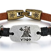 Virgo Thin Lettering PU Personalized Bracelet