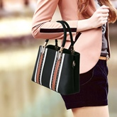 Casual Patchwork Huge Space PU Tote
