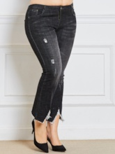 Plus Size Hole Bellbottoms Loose Women's Jeans