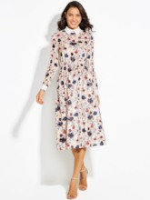 Lapel Floral Print Vacation Women's A-Line Dress