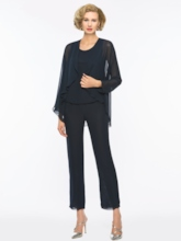 3 Pieces Chiffon Mother of the Bride Pantsuits with Jacket