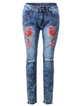 Skinny Hole Floral Embroidery Patchwork Women's Jeans