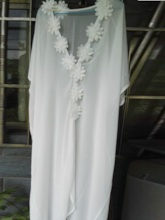 See-Through Chiffon Appliques Long Cover-Up
