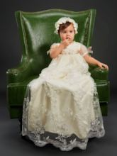 Short Sleeves Bowknot Baby Girl's Christening Baptism Gown