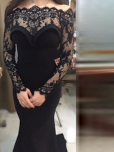 Off the Shoulder Lace Long Sleeve Evening Dress