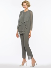 Chiffon 3 Pieces Mother of the Bride Pantsuits with Jacket