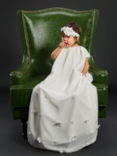 Scoop Neck Cap Sleeves Flowers Baby Girls Christening Gown