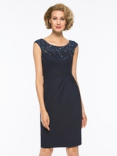 Lace Beading Sheath Short Mother Of The Bride Dress