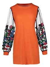 Floral Embroidery Patchwork See-Through Women's Sweater