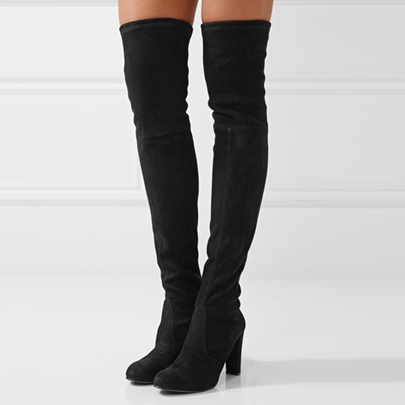 Suede Black Shoes Chunky Heel Thigh High Boots for Women