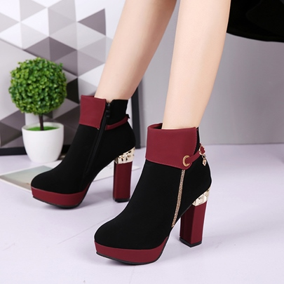 High Chunky Heel Lace-up Round Toe Women's Ankle Boots