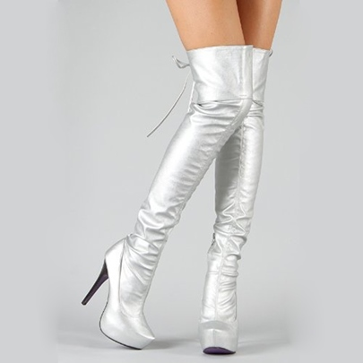 Sliver Shoes High Heel Over the Knee Boots for Women(Plus Size Available)