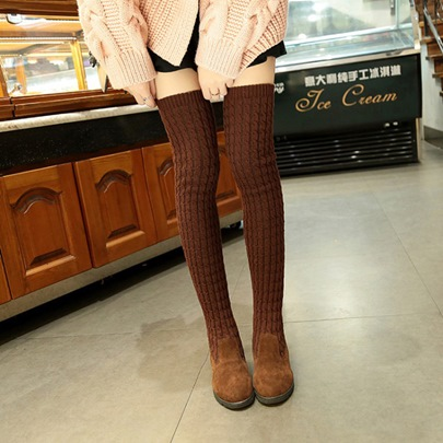 Cloth Knit Thigh High Shoes Chunky Heel Sock Boots Cloth Knit Thigh High Shoes Chunky Heel Sock Boots