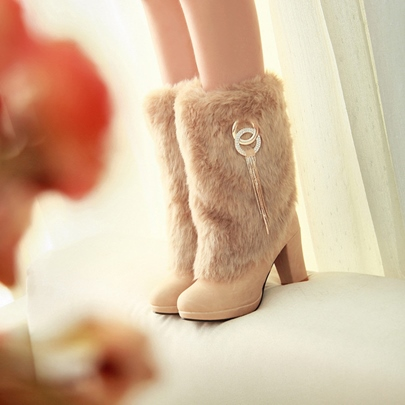 Fringe Thick Heel Boots with Warm Wool Seqein Shoes for Women