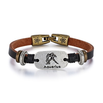 Aquarius Rectangle Printing PU Personalized Bracelet