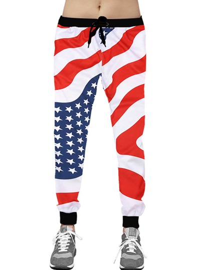 Lace-up American Flag Printed Slim Men's Casual Pants