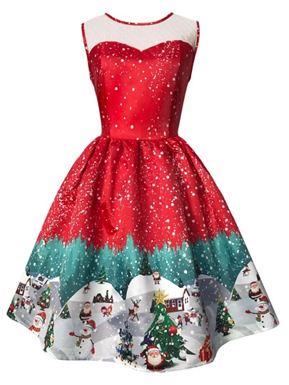 Sleeveless Christmas Pattern Women's Day Dress