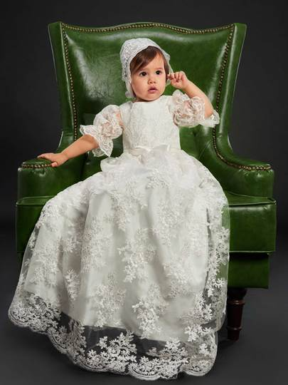 Tulle Lace Baby Girls Christening Gown with Bonnet