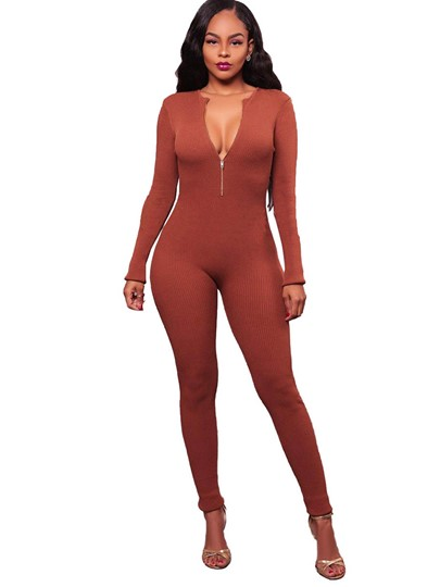 Fall Sexy Skinny Elastic Long Sleeves Women's Jumpsuits