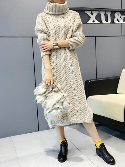 Turtle Neck Loose Split Women's Sweater Dress