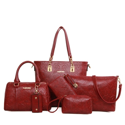 Retro Embossing Zipper Women Bag Set (6 Bag Set)