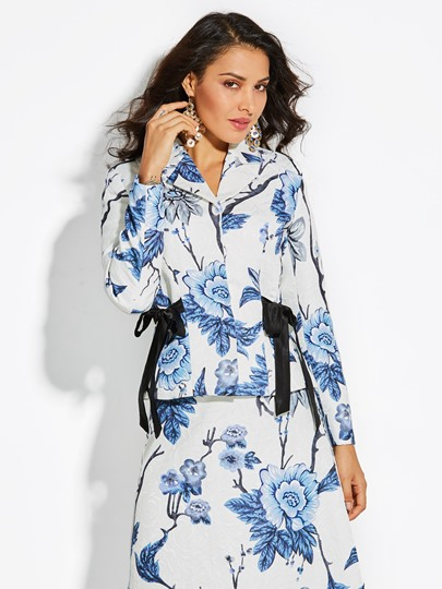 Notched Lapel Floral Slim Vacation Women's Jacket