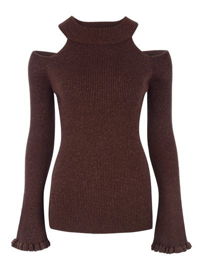 Slim Cold Shoulder Flare Sleeve Women's Knitwear