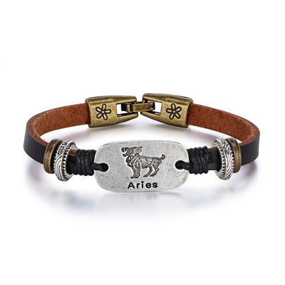 Aries Rectangle Alloy PU Rope Personalized Bracelet