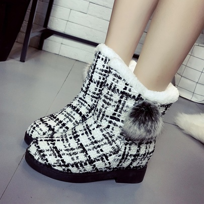 Gingham Check Shoes Height Increasing Snow Boots for Women